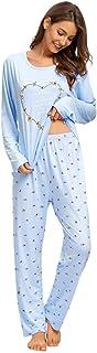 Conjunto Pijamas para Mujer-Pijamas para Mujer Cartoon Print Top de Manga Corta y Pantalones Sleepwear Conjuntos de salón Suave para Dormir