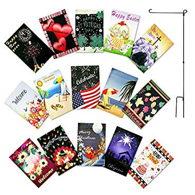 Double Sided Garden Flag Set of 15 Yard Flags 12 x 18 inches with FREE Metal Flag Pole - 12 Seasonal Flags for Outdoors and 3 BONUS Garden Decor Flags - Seasonal Garden Flags Set by Green Gardien
