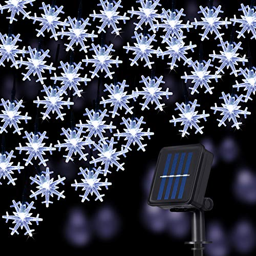 Snowflake Solar String Lights, 50LED 23ft 8 Modes Waterproof Solar Powered String Fairy Lights for Patio Home Gardens Outdoor Holiday Christmas Tree Party Decorations (White)