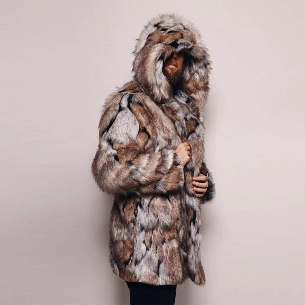 OMINA Mens Faux Fur Coat Jackets with Hood, 2020 Fashion Casual Winter Warm Windproof Fleece Fluffy Slim Fit Cardigan