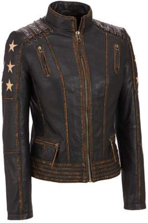 Marche Women's Cafe Racer Biker Leather Jacket 2XS to 3XL