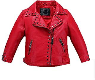 Girl's Biker Jacket Faux Leather Rivets Leather Motor Jacket