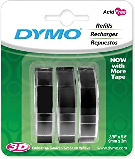 DYMO 3D Plastic Embossing Labels for Embossing Label Makers, White Print on Black, 3/8`` x 9.8`, 3-roll Pack (1741670)