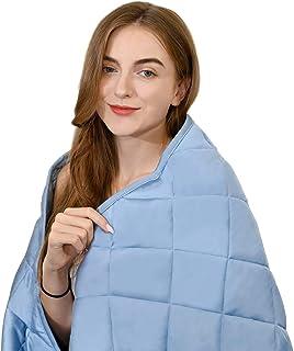 ZZZNEST Gewichtete Bambusfaser-Therapiedecke 100% Baumwolle, Schwere Decke für Angst- und Schlafstörungen,Blau,150x200 cm 9kg