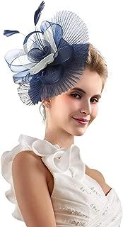 Merya Dress Kentucky Derby Fascinators for Women Tea Party Hat Cocktail Sinamay Headpiece Flower Mesh Feathers Headband