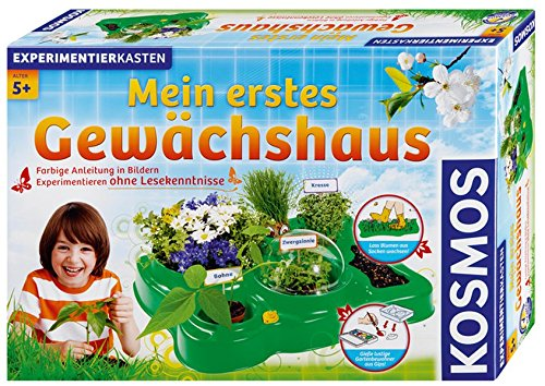 KOSMOS 634919 - Mein erstes Gewächshaus, Das Original, Erstes Gärtnern für Kinder ab 5 Jahre, Komplett-Set mit Samen, Erde usw. Experimentierkasten zu Garten, Pflanzen, Blumen, Biologie
