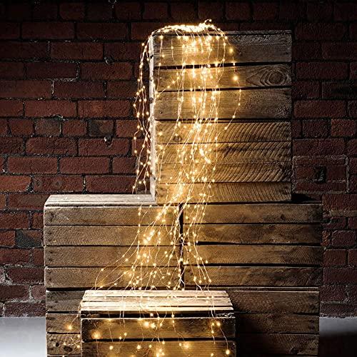 i-Found Paquete de luces LED, 200 luces LED decorativas impermeables para cascada, 8 modos de luz con control remoto, luces blancas cálidas para fiestas de jardín, Navidad, bodas