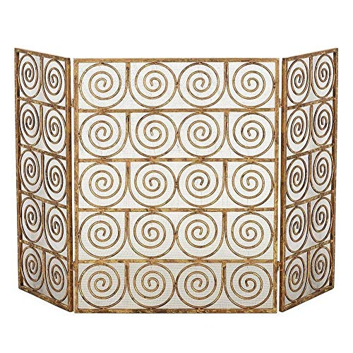 Lowest Price! LXLA Baby Safety Fire Screen Fireguard, Decorative Scroll 3 Panel Fireplace Mesh Guard...