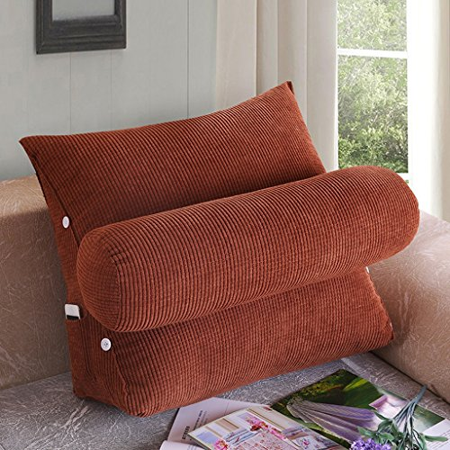 Coussins Mmm- Lit Bureau Canapé Triangulaire Chevet Dossier Ceinture Pad Garde-Cou (Couleur : Marron, Taille : 45 * 40 * 22cm)