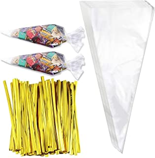 Faxco 300 Pcs Clear Cone Shaped Treat Bags with Twist Ties (7 x 15 inches) Triangle Goody Bags for Candies Handmade Cookie...