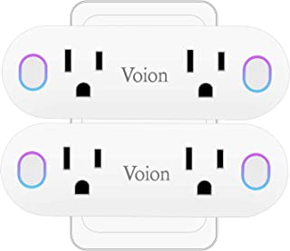 Smart Wi-Fi Plug - Voion Wireless Mini WiFi Dual Outlet, Power Monitoring/Voice Control/Timer Function Electrical Socket, Compatible with Alexa, Google Home and IFTTT, No Hub Required, 16A,2 Pack