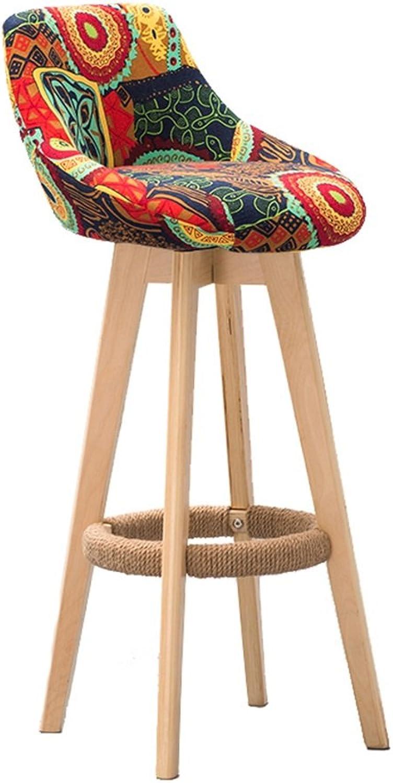 Retro Bar Chair Bar Stool Hemp Rope Armchair,Solid Wood High Stool Restaurant Household Creative Backrest Dining Chair,redatable Cloth Cushion (color   B, Size   75CM)