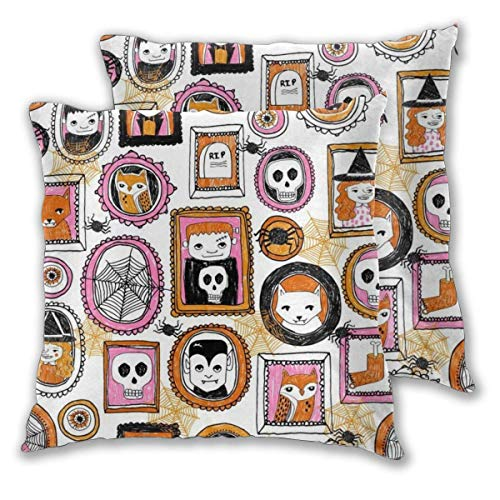 erjing Pack of 2 Soft Decorative Square Throw Pillow Covers, Halloween Pink Orange Skull Spiders Witches Owls Hocus Pocus Cushion Cases Pillowcases for Sofa Bedroom Car,20 x 20 Inch