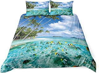 Queen Size 3D Digital Printing Duvet Cover Set Peaceful Theme Tropical Botanical Coconut Trees Bedding Set Fish Sea Wave Beach 3PCS 100% Microfiber Soft With 2 Pillowcases Zipper Closure Spring Summer