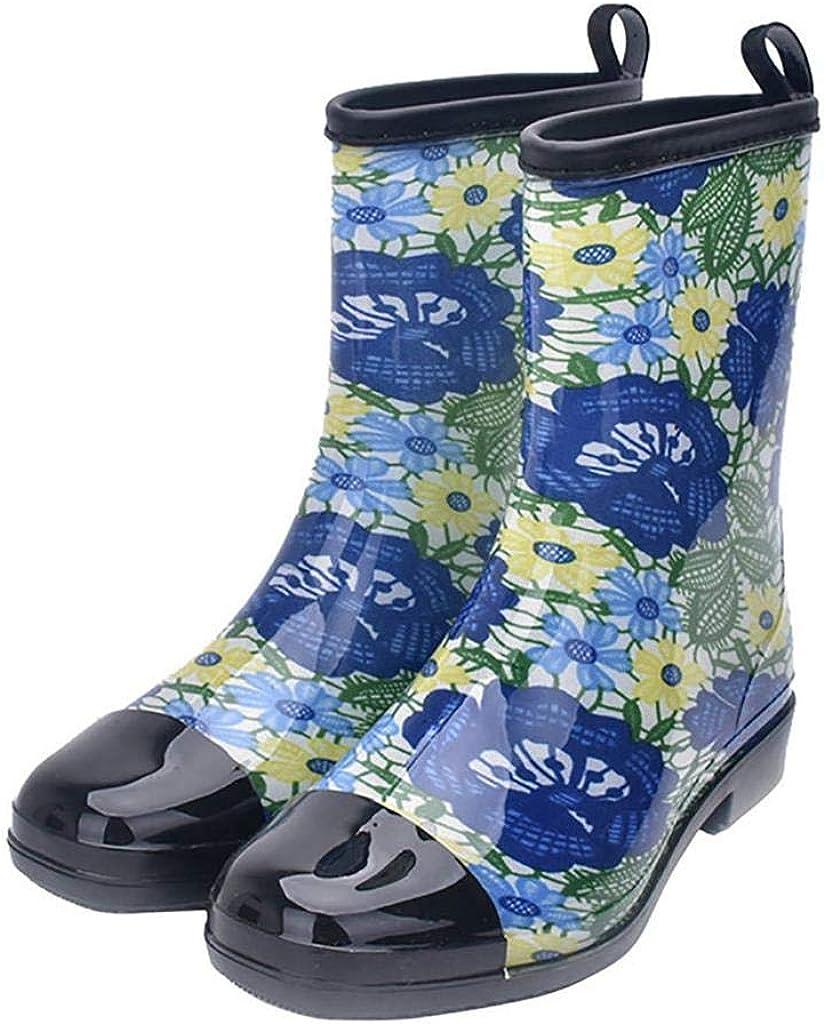 Women's Rain Boots Rubber Printed Waterproof with Non Slip Sole Garden Fashion Rain Shoes Boot