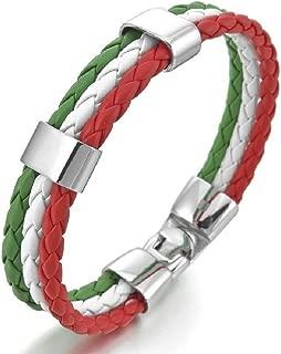 GSG Men's Stainless Steel Genuine Leather Bangle Bracelets Silver White Green Red Italy Italian Flag Braid Gothic