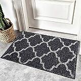 Homaxy rutschfest Fußmatte Waschbar Schmutzfangmatte Fussmatte Aussen Pflegeleichte Sauberlaufmatte Türmatte für Innen & Außen - 50 X 80 cm, Schwarz Geometrie