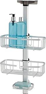 iDesign Metro Rustproof Aluminum Adjustable Over Door Bathroom Shower Caddy For Shampoo, Conditioner, Soap - Silver/Smoke ...