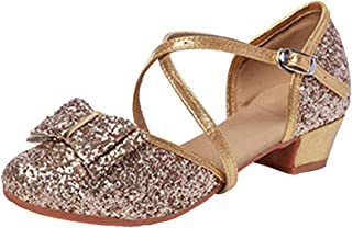 Zhhlinyuan Girls Glittering Ankle Strap Latin Salsa Dance Shoes Performance Ballroom Closed-Toe Low Heel Shoes