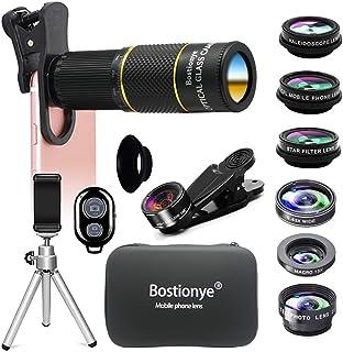 Bostionye 携帯 レンズ HD10 イン 1 レンズ キット 22倍 シングル レンズ ズーム 望遠鏡 0.63 広角 15X マクロ 198 ° フィッシュアイ 2X 望遠 CPL フィルタ 万華鏡 スターフィルタ スマホレンズ 三脚...