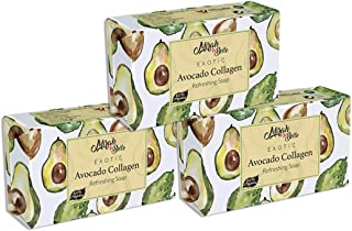 Mirah Belle - Organic Avocado Collagen Soap Bar (Pack of 3) - Best for Anti-Aging, Skin Tightening, Smoothening - Good for Dull, Sun Damaged, Dehydrated and Aging Skin - Face and Body Soap for Men and Women - Vegan, Handmade, Natural, Cruelty Free - Sulfate and Paraben Free - 375 gms