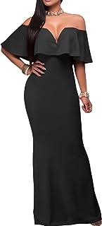 AlvaQ Women's Sexy V Neck Ruffle Off Shoulder Evening Maxi Party Dress