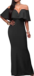 Women's Sexy V Neck Ruffle Off Shoulder Evening Maxi Party Dress