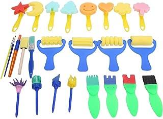 NITRIP 26pcs Legno plastica per Bambini Pennelli per Forniture Pittura Spugna Pennello Giocattolo Sigillo Strumento Set da Disegno per Giochi da Bambini Spugna