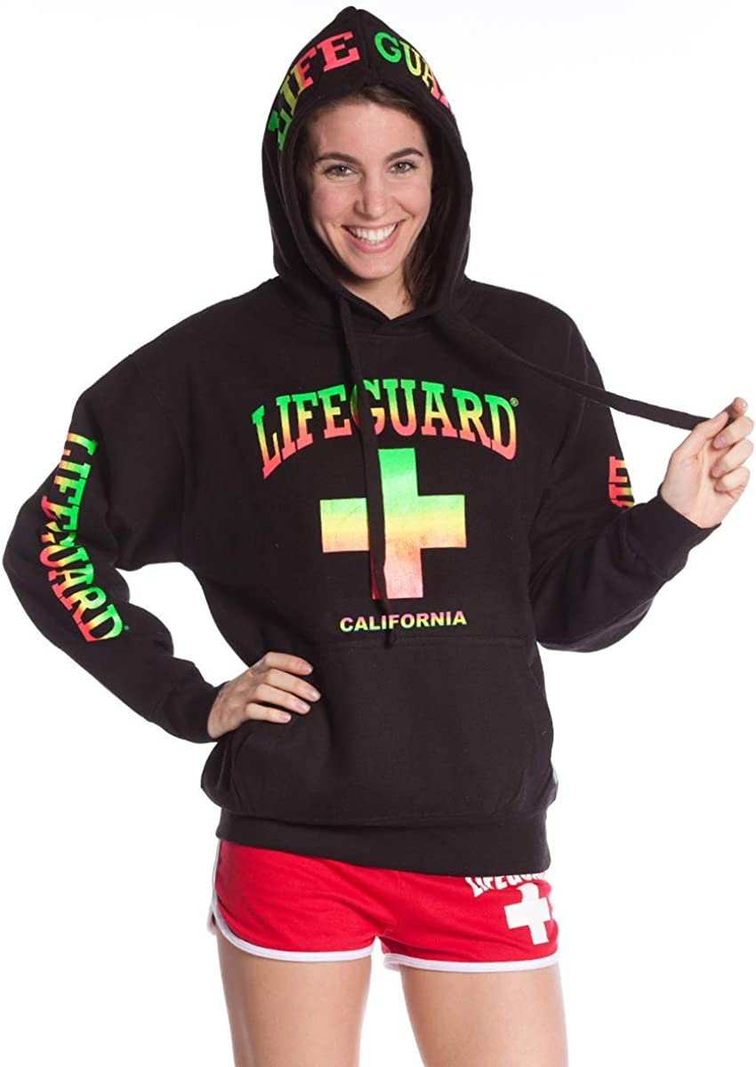 LIFEGUARD Officially Licensed Black Sweatshirt with Neon Blend Print on Hood Sleeves and Chest Men and Women Unisex Fit