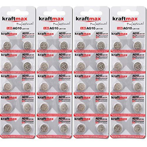 kraftmax 40er Pack Knopfzelle Typ 389 (AG10 / LR1130 / LR54) Hochleistungs- Batterie / 1,5V Uhrenbatterie für professionelle Anwendungen - Neuste Generation