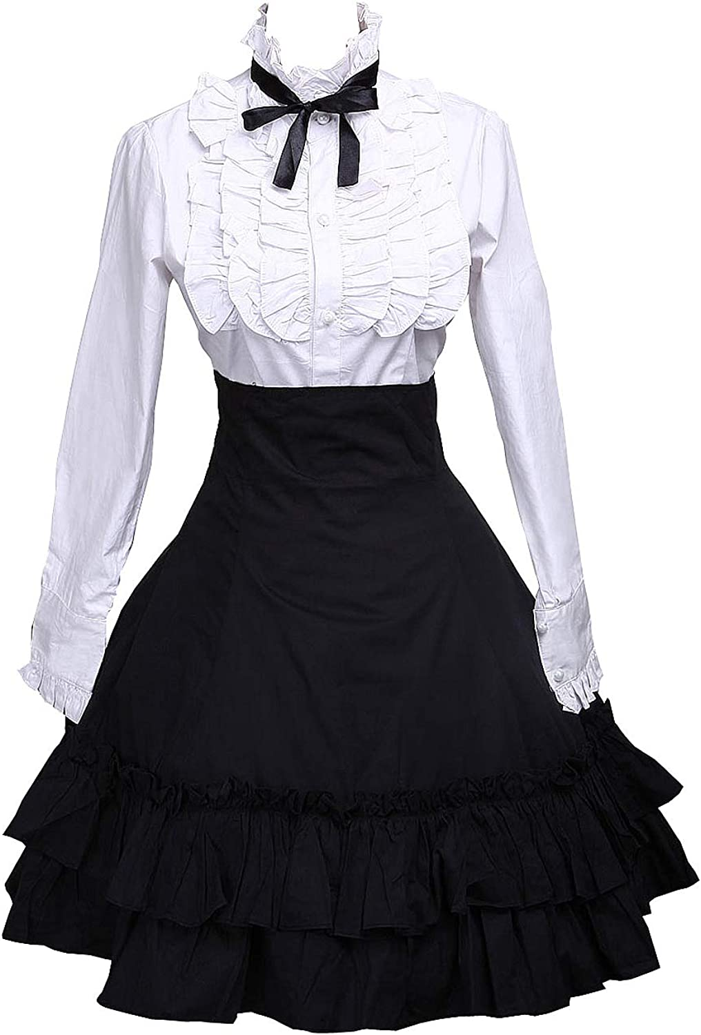 Antaina Black Cotton Pleated Lolita Skirt and Victorian Bow Tie Blouse
