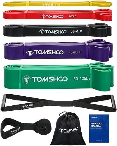 TOMSHOO Bande Élastique Musculation 5 Bandes de Résistance + 1 ancrage de Porte + 1 poignée, Latex Naturel Elastique ...