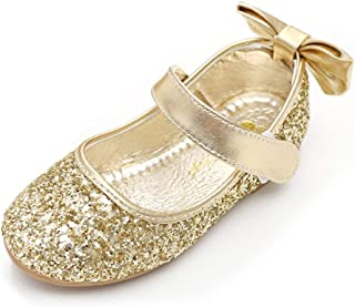 ON Glitter Bow Kids Children Girls Ballet Flats Princess Bridesmaid Wedding Party School Shoes Mary Janes