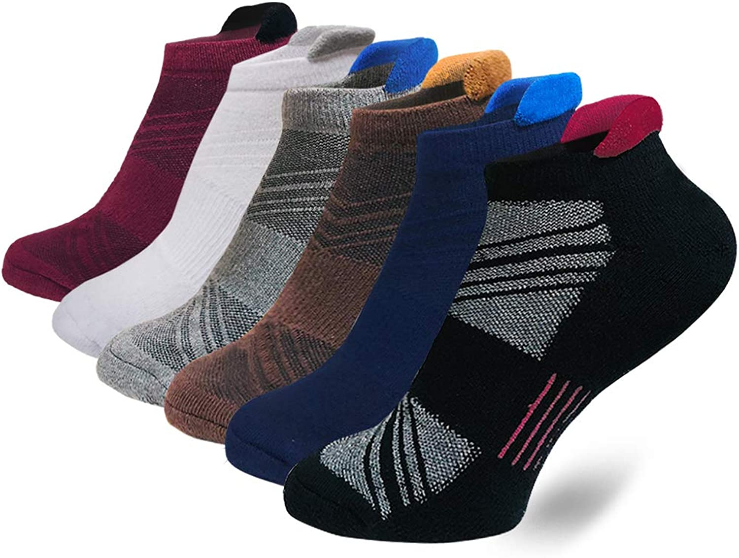 Men's Performance No Show Athletic Socks Running Sports Comfort Cushioned Tab Socks(6 Pairs)