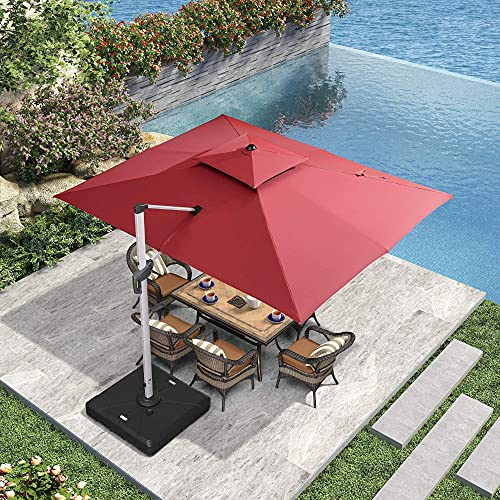 PURPLE LEAF 9' X 12' Patio Umbrella Outdoor Rectangle Umbrella Large Cantilever Umbrella Windproof...