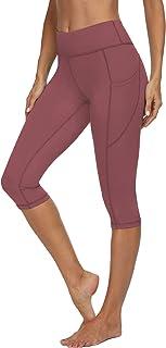 VIISHOW Women's High Waisted Tummy Control Capris Yoga Pants with Pockets Running Pants Workout Yoga Pants Leggings