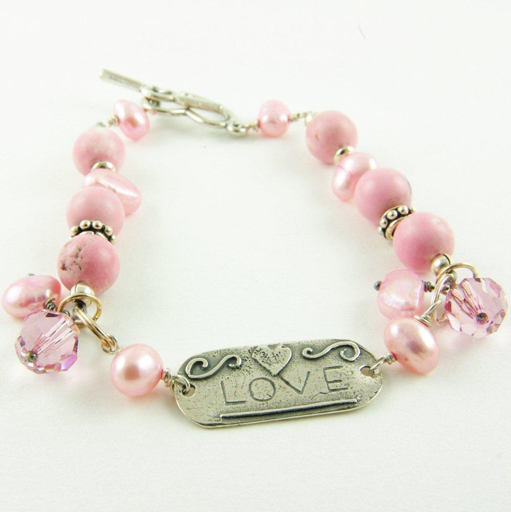 Pink Manufacturer OFFicial shop Bracelet Sterling Silver Love Cultured Max 79% OFF Pearl Tag Freshwater