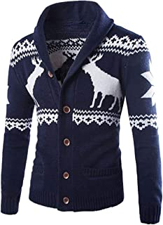 Men Knitted Sweater Christmas Sweater Fashion Chic Elk Thick Cardigan Spring and Autumn Loose Comfortable Casual Ethnic St...