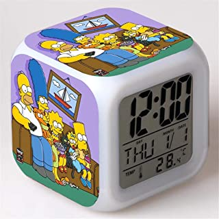 ZZTX FASHION Despertador para Niños, Despertador de Cabecera con Luz Nocturna de 7 Colores, Mini Music Wake Up Alarm Clock con 8 Sonidos, Regalo para Niños Niñas,B