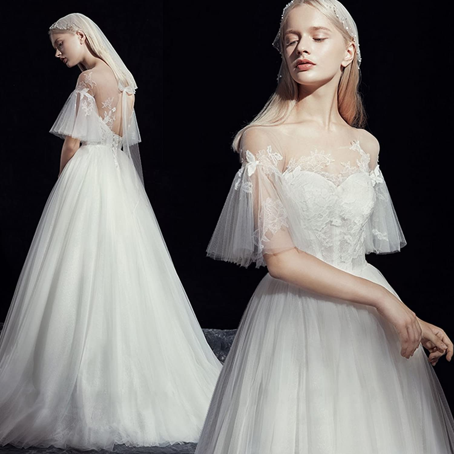 Fashion Simple Women's Wedding Dresses Tulle Princess Dream Floor Length Evening Prom Bridal Dresses with Lace Appliques