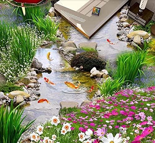 Papel tapiz jardín corriente nueve peces figura 3D estéreo piso piso ladrillo azulejo pintura decoración mural-200 * 140 cm