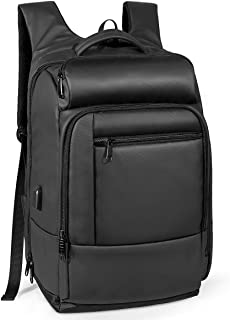 Mochila para Viaje, Mochila Laptop portátil con Bolsillo Aislado, Bolsillo de Seguridad, Exterior Resistente al Agua y Puerto de Carga USB, Negro