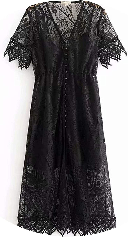 DATAIYANG Vintage Floral Crochet Lace Dress Boho Flowy Midi Dresses Gown VNeck Short Sleeve Lining Dresses
