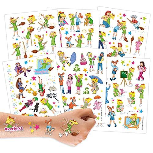 Papierdrachen 100 Tattoos zum Aufkleben - aus Deutschland - Hautfreundliche Kindertattoos Bibi Blocksberg - kindgerechte Designs - als Geburtstagsmitgebsel oder Geschenkidee - Vegan