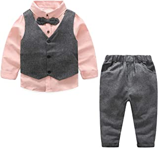 Yilaku Toddler Boys Suits Set 5 Piece Vest + Pants + Shirt + Bow Tie Little Boy Formal Dress Suit Clothing Outfit Set