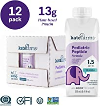Kate Farms Pediatric Peptide 1.5 Vanilla Formula Drink, Organic Plant-Based Hydrolyzed Protein, Essential Vitamins, Total Nutrition for Oral and Tube Fed, 8 Fluid Ounces (Case of 12)