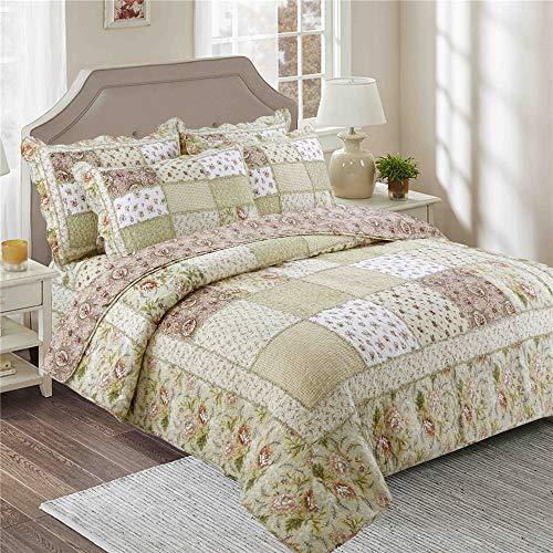 Colchas de flores Colcha Cubierta patchwork algodón Juego cama 230x250cm Tamaño Rey Colcha aire acondicionado Cubrecamas multifuncional Manta con fundas almohada, adecuada para estaciones,3pcs