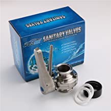TriClamp Sanitary Stainless Steel Handle Butterfly Valve, 1-1/2