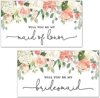 Peach Floral Bridesmaid Proposal Mini Champagne Bottle Labels - Set of 12
