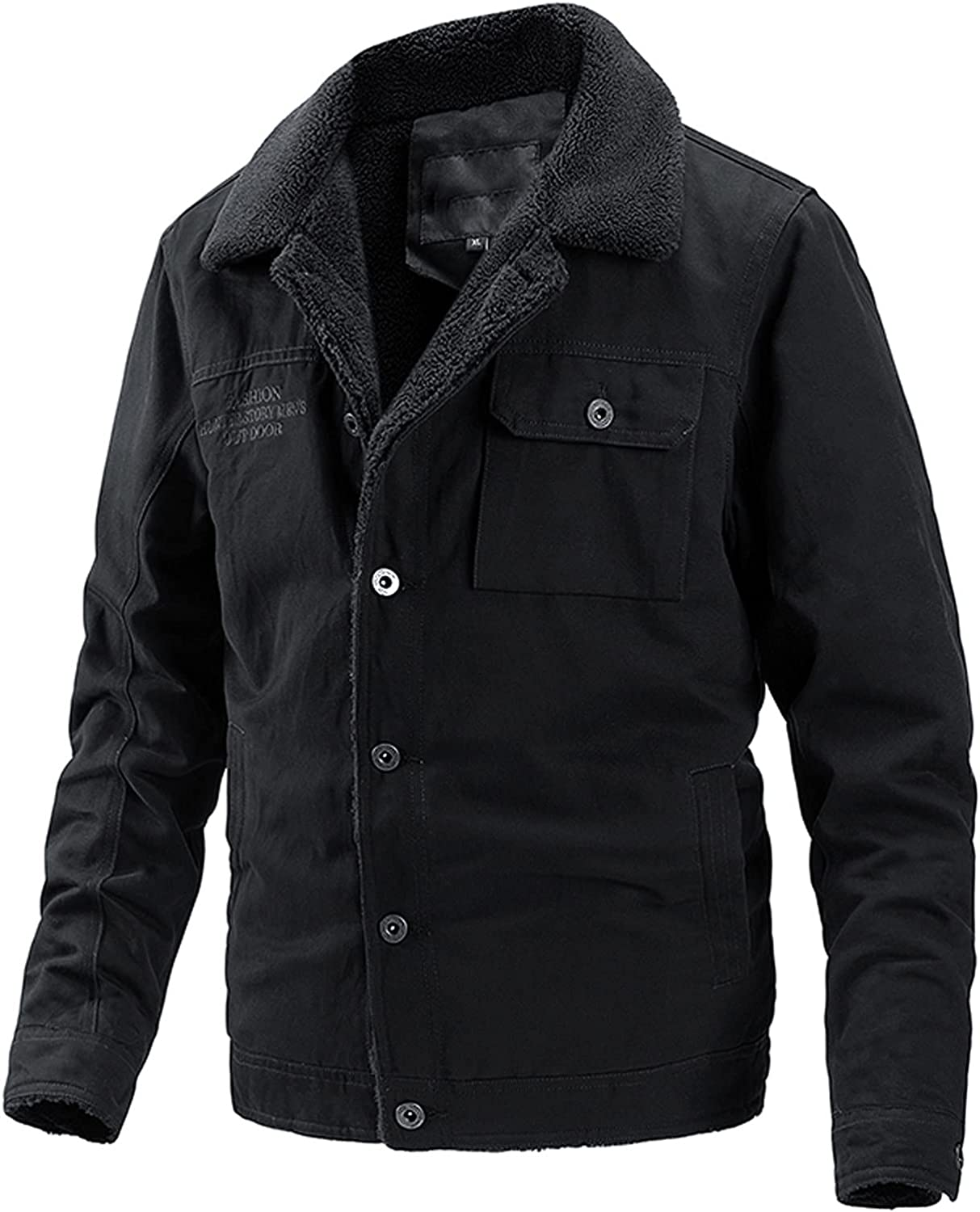 Men's Jackets Military Cargo Bomber Working Coat Single Breasted Outwear with Pockets Winter Warm Coats